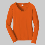 Ladies Long Sleeve Cotton V-Neck T